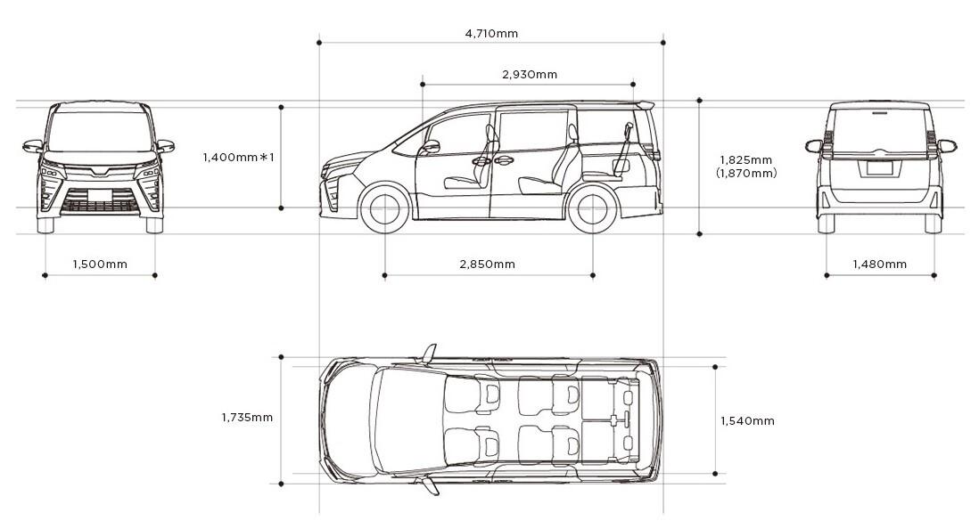 Размеры кузова Тойота Вокси