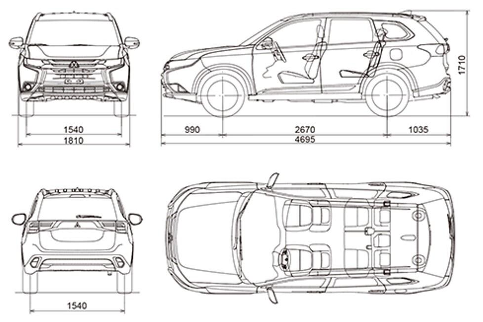 Mitsubishi Outlander размеры